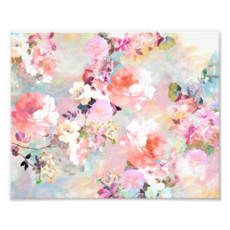 Romantic Pink Teal Watercolor Chic Floral Pattern Photo Art