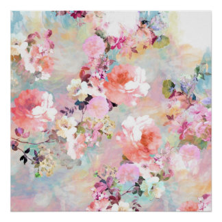 Romantic Pink Teal Watercolor Chic Floral Pattern Poster