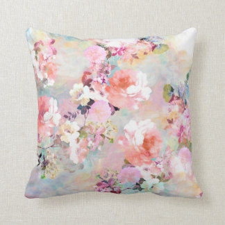 Romantic Pink Teal Watercolor Chic Floral Pattern Throw Pillow