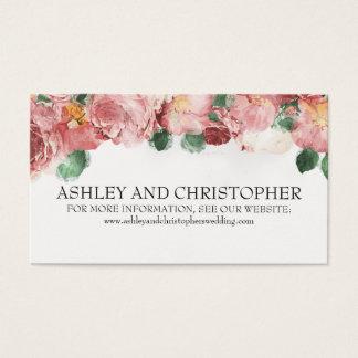 Romantic Pink Vintage Floral Wedding Website Business Card