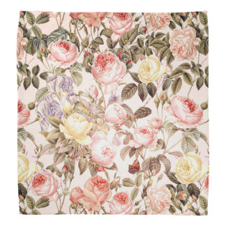 Romantic pink vintage rose flower pattern bandana