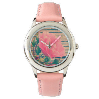 Romantic Pink Vintage Rose Wrist Watch