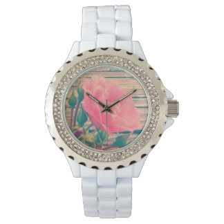 Romantic Pink Vintage Rose Wristwatches