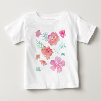 Romantic Pink Watercolor Flowers Baby T-Shirt