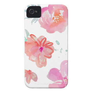 Romantic Pink Watercolor Flowers Case-Mate iPhone 4 Cases