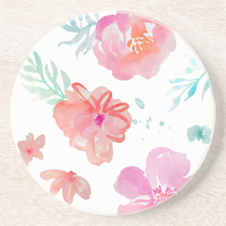 Romantic Pink Watercolor Flowers Coaster