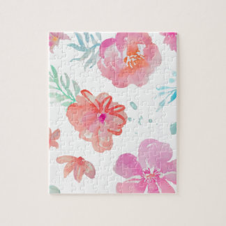 Romantic Pink Watercolor Flowers Jigsaw Puzzle