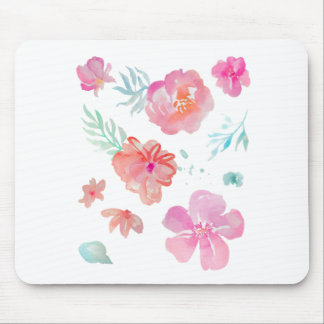 Romantic Pink Watercolor Flowers Mouse Pad