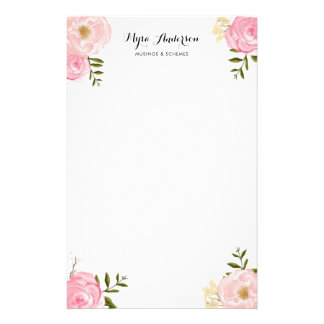 Romantic Pink Watercolor Flowers Personalized Stationery