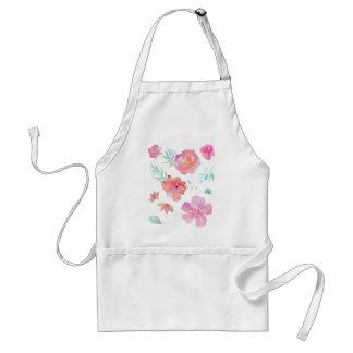 Romantic Pink Watercolor Flowers Standard Apron