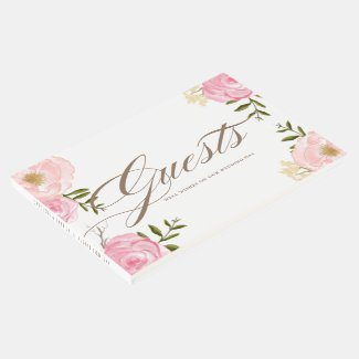 Romantic Pink Watercolor Flowers Wedding Guestbook