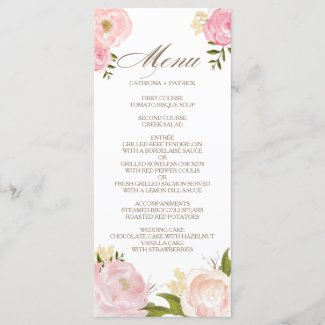 Romantic Pink Watercolor Flowers Wedding Menu Card