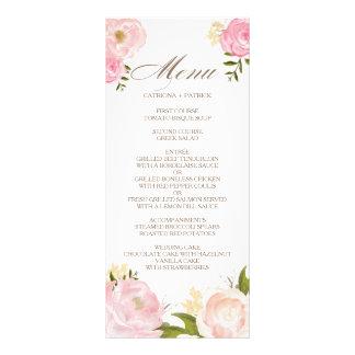 Romantic Pink Watercolor Flowers Wedding Menu Card Custom Rack Cards