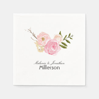 Romantic Pink Watercolor Garden Floral Paper Napkin