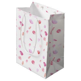 Romantic Pink Watercolor Rose Petals Medium Gift Bag