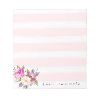 Romantic Pink Watercolor Stripes Floral Notepad