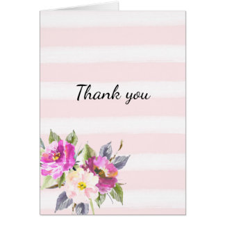 Romantic Pink Watercolor Stripes Floral Thank you Card