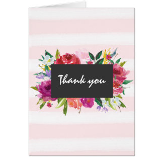 Romantic Pink Watercolor Stripes Floral Thank you Note Card