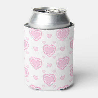 Romantic Pink & White Hearts Can Cooler