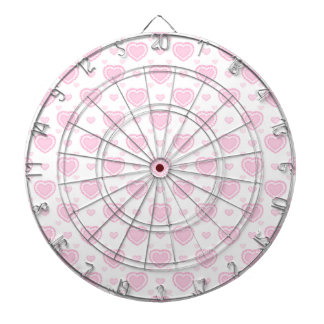 Romantic Pink & White Hearts Dartboard