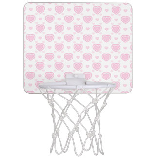 Romantic Pink & White Hearts Mini Basketball Hoop