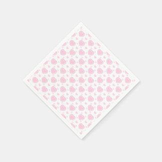 Romantic Pink & White Hearts Paper Napkin