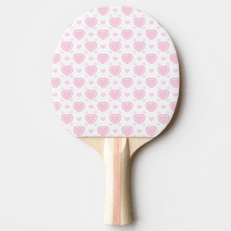 Romantic Pink & White Hearts Ping Pong Paddle