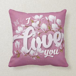Romantic Pink & White Magnolia Floral Throw Pillow