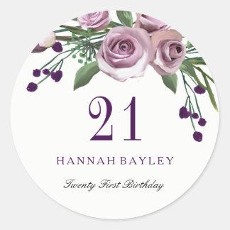 Romantic Plum Purple Rose Floral 21st Birthday Classic Round Sticker