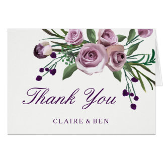Romantic Plum Purple Rose Floral Wedding Thank You Card