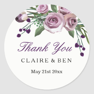 Romantic Plum Purple Rose Floral Wedding Thank you Classic Round Sticker
