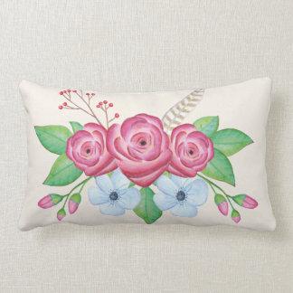 Romantic Pretty Watercolor Flower Bouquet Lumbar Pillow