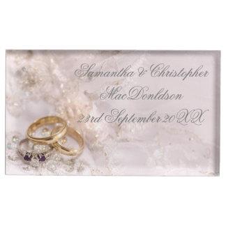 Romantic pretty wedding rings table card holders