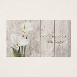 Romantic Professional  ,Calla,Wood Texture Business Card