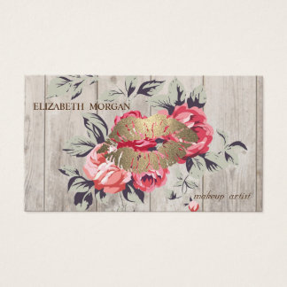 Romantic Professional Floral ,Lips,Wood Texture Business Card