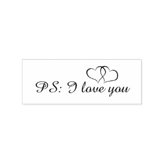 Romantic PS I Love You Hearts Rubber Stamp