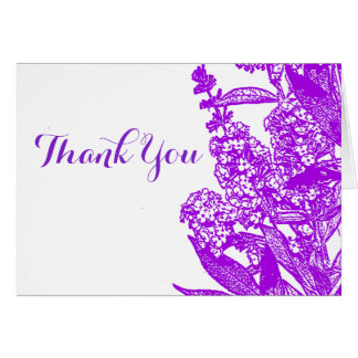 Romantic Purple Flower Thank You Note Card