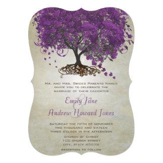 Romantic Purple Heart Leaf Tree Wedding Card
