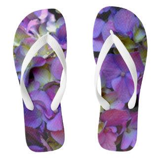 Romantic purple Hydrangeas Flip Flops