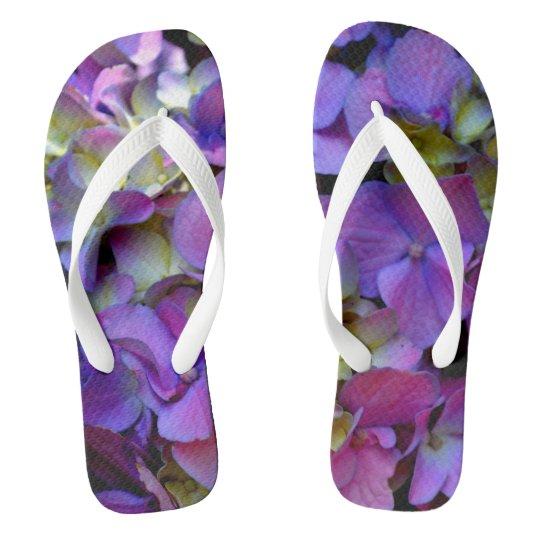 Romantic purple Hydrangeas Flip Flops