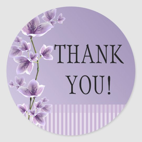Romantic Purple Lilac Floral Thank You Stickers