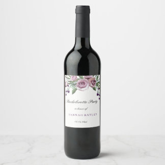 Romantic Purple Rose Bachelorette Party Wine Label