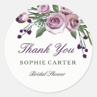 Romantic Purple Rose Bridal Shower Thank you Classic Round Sticker