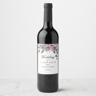 Romantic Purple Rose Floral Wedding Wine Label