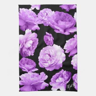 Romantic Purple Roses Floral Kitchen / Hand Towel