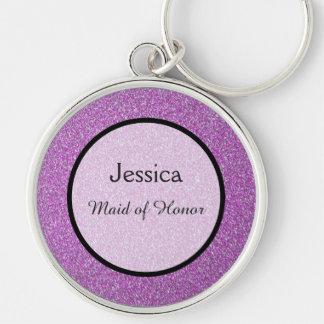 Romantic Purple Sparkles Wedding Favour Keychain