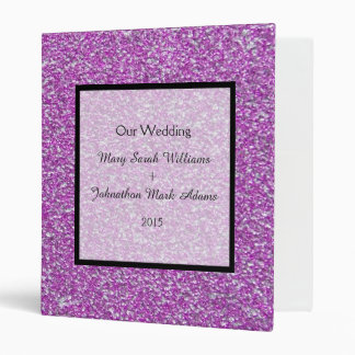 Romantic Purple Sparkles Wedding Keepsake Planner Vinyl Binder