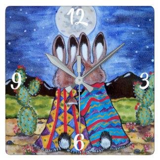 Romantic Rabbit Moon Southwest Clock Jackrabbit