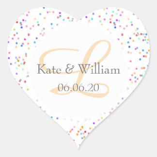 Romantic Rainbow Confetti Names and Wedding Date Heart Sticker