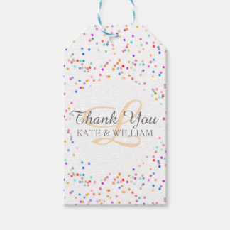 Romantic Rainbow Confetti Thank You Gift Tags